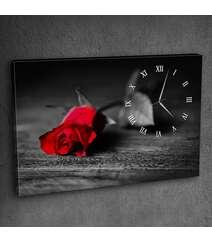 Canvas divar saatı qızılgül şəkilli