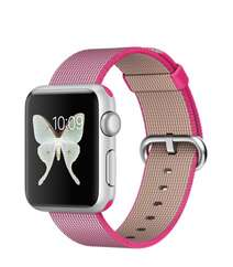 Apple Watch 38mm Silver Aluminum Case with Pink Woven Nylon MMF32