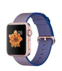 Apple Watch 38mm Rose Gold Aluminum Case with Royal Blue Woven Nylon MMF42