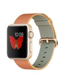 Apple Watch 38mm Gold Aluminum Case with Gold/Red Woven Nylon MMF52