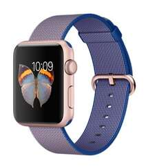 Apple Watch 42mm Rose Gold Aluminum Case with Royal Blue Woven Nylon MMFP2