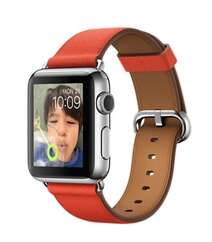 Apple Watch 38mm Stainless Steel Case with Red Classic Buckle MMF82