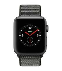 Apple Watch Series 3 GPS + Cellular 42mm Space Gray Aluminum Case with Dark Olive Sport Loop (MQK62)
