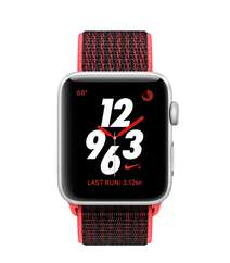 Apple Watch Nike+ Series 3 GPS + Cellular 42mm Silver Aluminum Case with Bright Crimson/Black Nike Sport Loop (MQLE2)