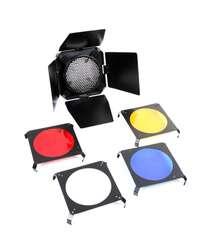 İşıq qapıları + dəmir tor + 4 rəngli gel filter