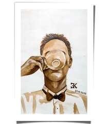 """Kofe ilə çəkilmiş rəsm """"Coffee man"""""""