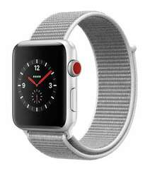 APPLE WATCH SERIES 3 GPS + CELLULAR 42MM SILVER ALUMINUM CASE WITH SEASHELL SPORT LOOP (MQK52)