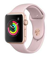 APPLE WATCH SERIES 3 GPS 42MM GOLD ALUMINUM CASE WITH PINK SAND SPORT BAND (MQL22)