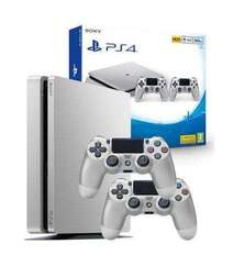 Sony PlayStation 4 Slim PS4 500 GB 2 Silver Controllers Limited Edition