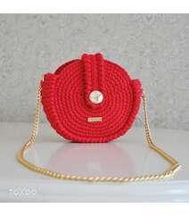 Lalə rəngli al qırmızı yumru çanta modeli
