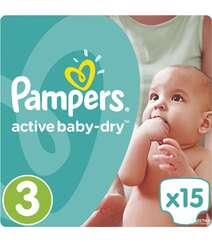 Подгузники Pampers Active Baby-Dry Размер 3 (Midi) 5-9 кг, 15шт