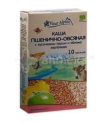 FLEUR ALPINE Каша детская молочная цельнозерновая Пшенично-овсяная с кусочками груши и яблока