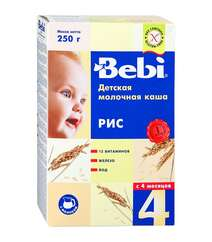 Рисовая молочная каша Bebi (с 4 мес., 250 гр.)