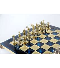 The Giants' Battle chess set with gold-silver chessmen/Blue chessboard 36 sm