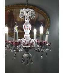 Qədimi çil çıraq (lust) 6 şamdamla Bohemia crystal
