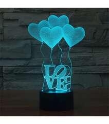 Ürək formalı 3D stolüstü lampalar