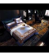 Leopar naxışlı göy yataq dəsti