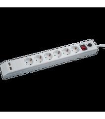 Elektrik uzadıcısı (Udlinitel) 6-lıq 1.8mt (USB çıxış 2 ədəd) Navigator 71864