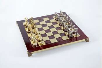 Labours of Hercules chess set with gold-silver chessmen/Red chessboard 36 sm