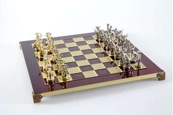 The Giants Battle chess set with gold-silver chessmen/Red chessboard 36 sm
